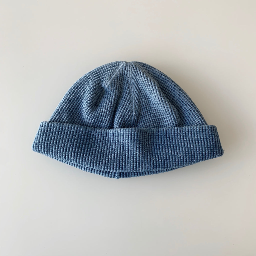 Silk Noel Organic Cotton Waffle Farm Beanie - Short - Asagi Pure Indigo Dyed