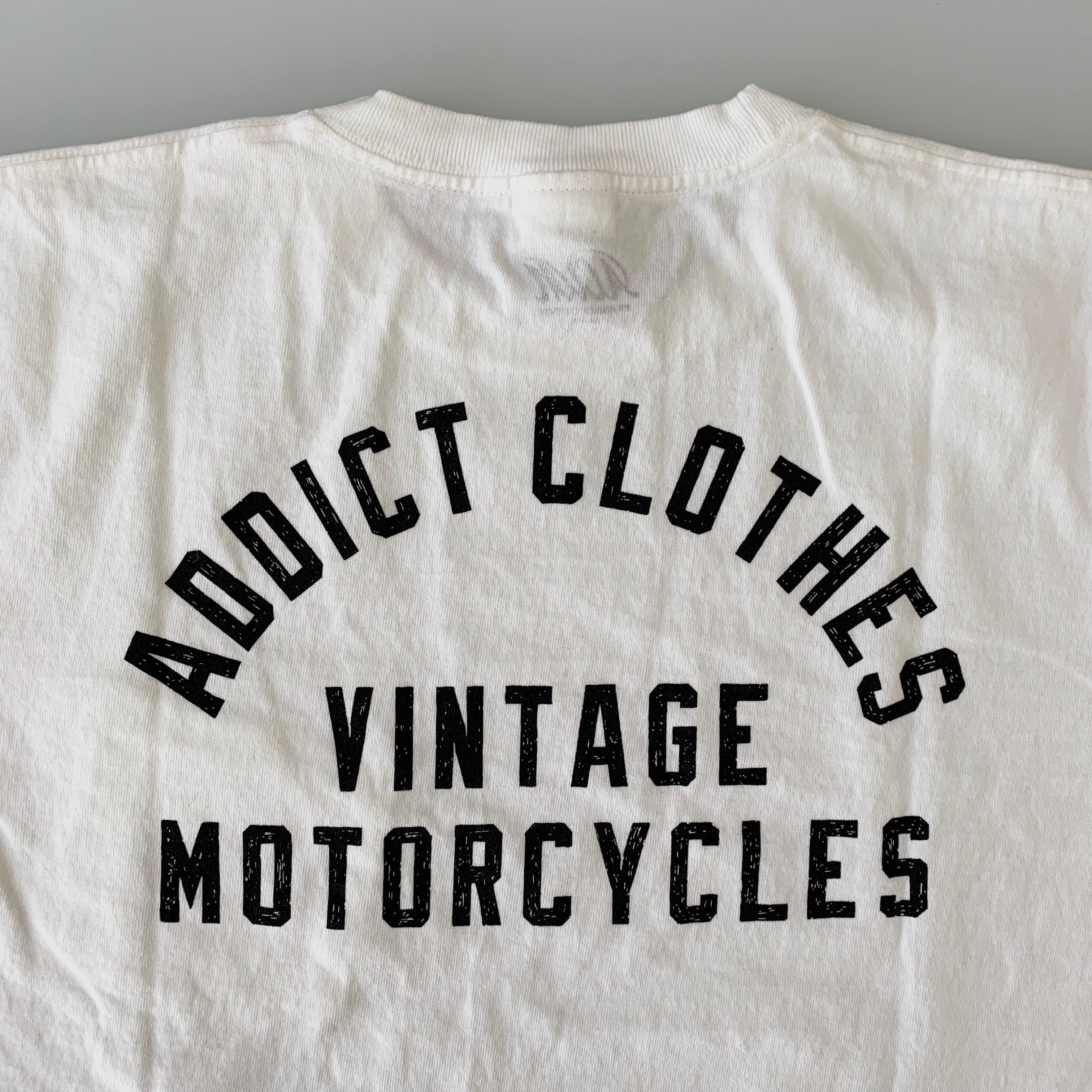 Addict Clothes Vintage Motorcycles - Slanted Pocket Logo Tee in White x Black