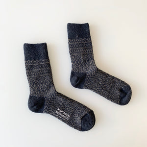 Wool Jacquard Socks in Navy