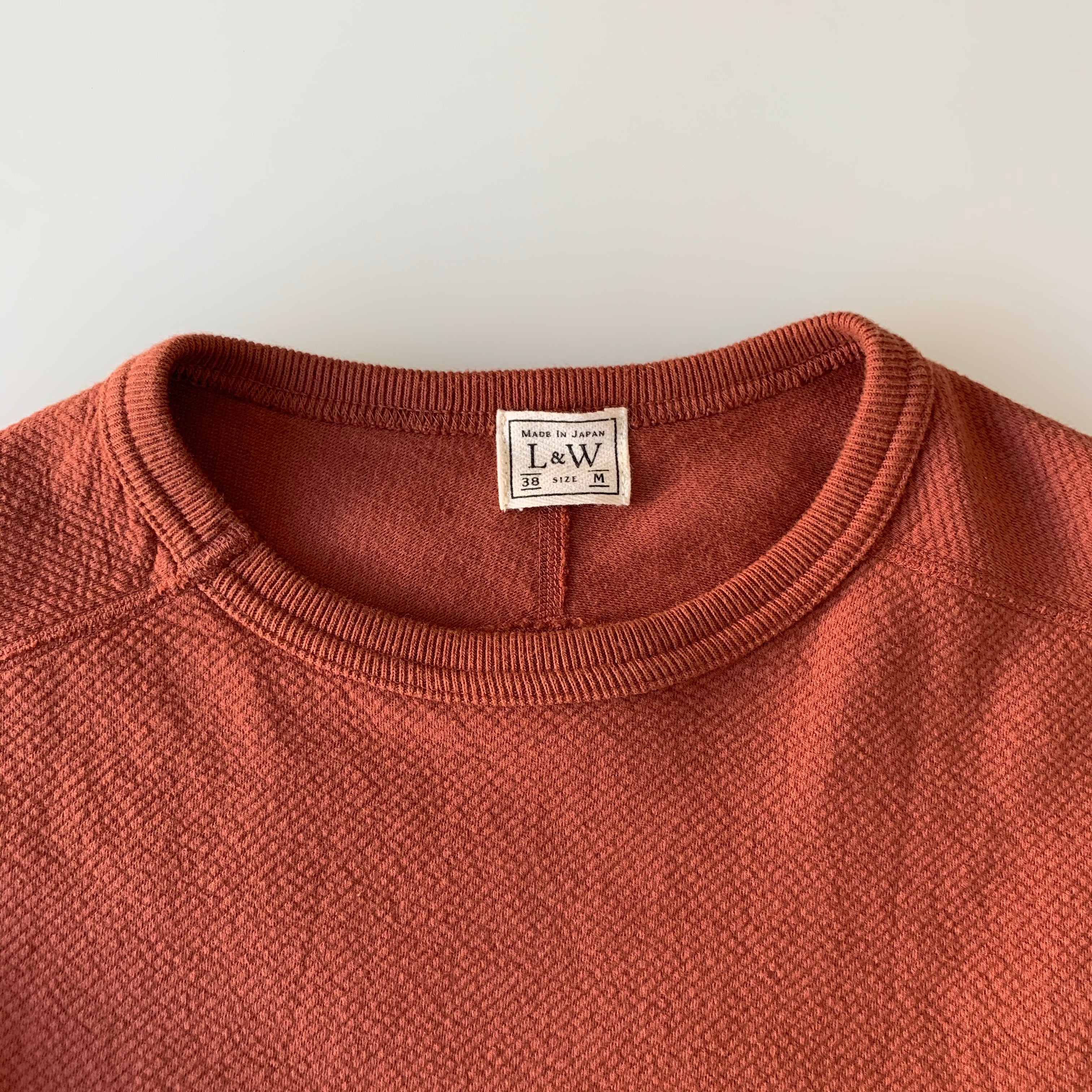 Twill Face Knit L/S Crewneck in Deep Cherry