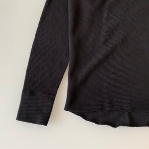 Double Face Thermal Crewneck in Royal Black