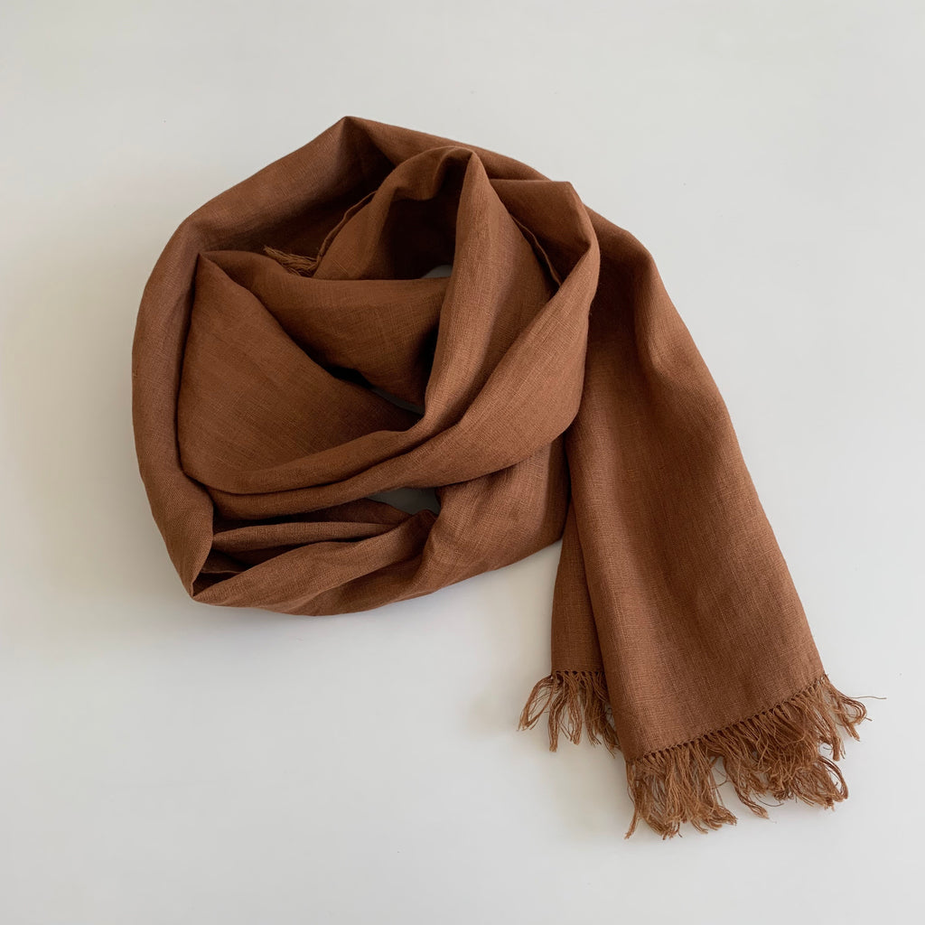 Linen Scarf in Noisette