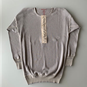 US001 Swedish Army Rib Henley Neck Long Sleeve in Mottled Light Blue