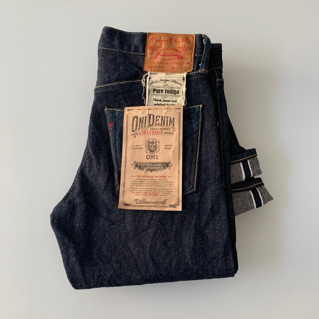 ONI x Burgus Plus - 15.5oz Redcast Natural Indigo x Greencast Secret Denim Selvedge - Slim Straight