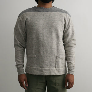 Vintage Slub 1950's Boatneck Sweatshirt in Heather Brown x Heather Grey