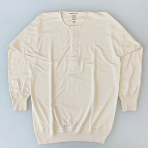 US001 Henley Neck Long Sleeve in Ivory