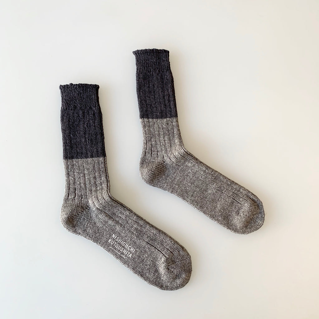 Wool Cotton Slab Socks in Charcoal