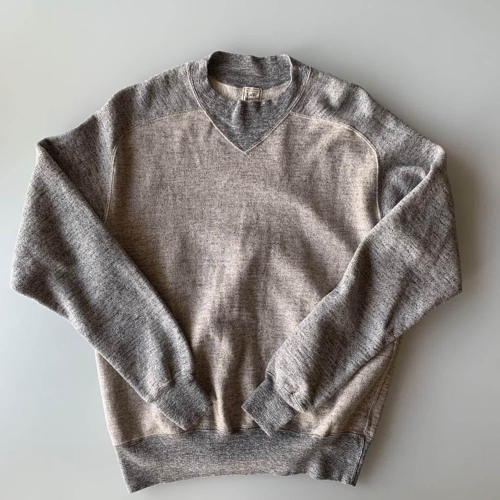 Vintage Slub Cotton 1930's Raglan Sweatshirt in Heather Brown x Heather Grey