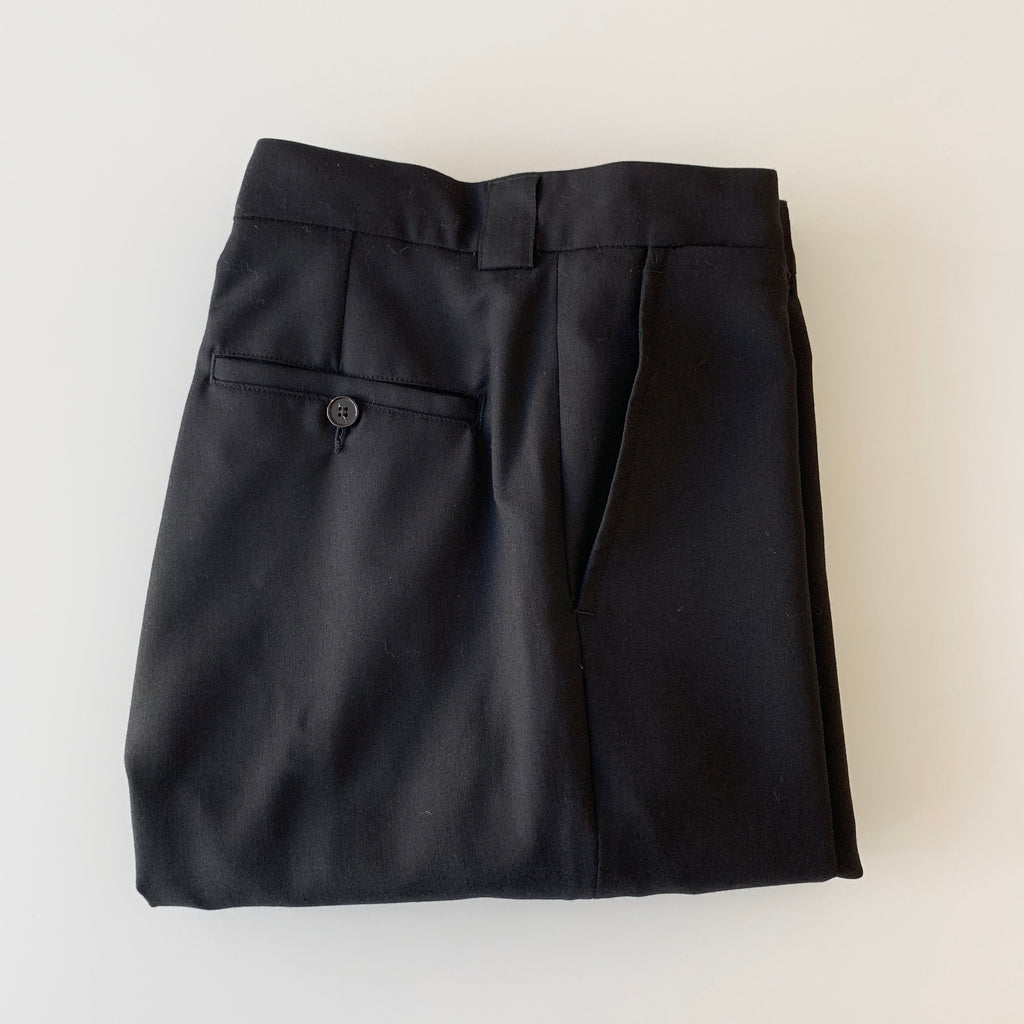 Tapered Wool Trousers in Deep Black