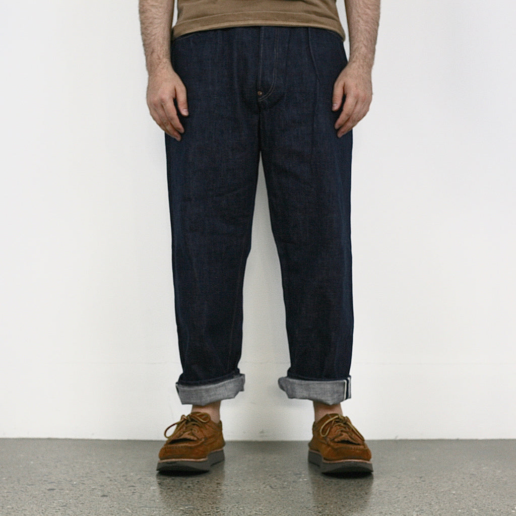 819 Sukumo Hand-Dyed Natural Indigo 13.5oz Selvedge Denim - Hi-Rise Wide Tapered