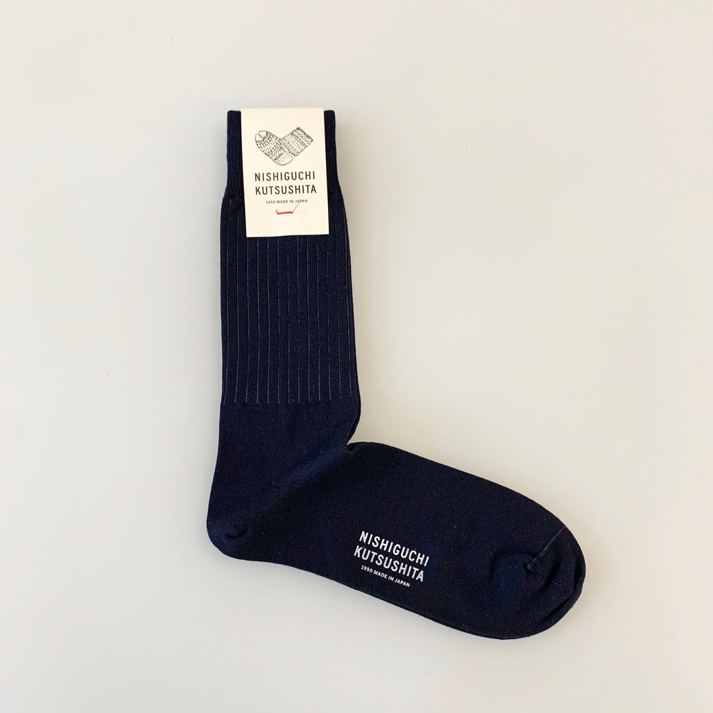 Egyptian Cotton Striped Socks in Navy