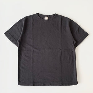 Military Rib Knit Short-Sleeve Boatneck in Antique Black