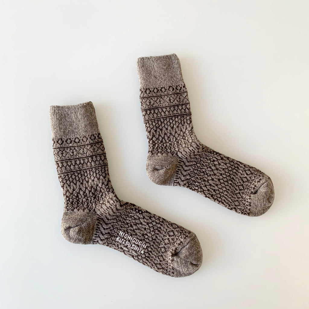 Wool Jacquard Socks in Grey
