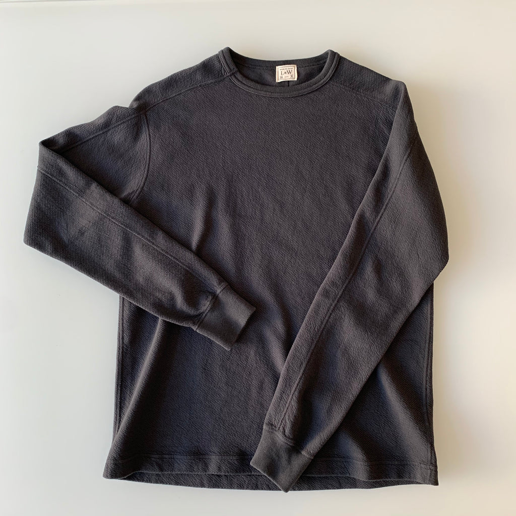 Twill Face Knit L/S Crewneck in Antique Black