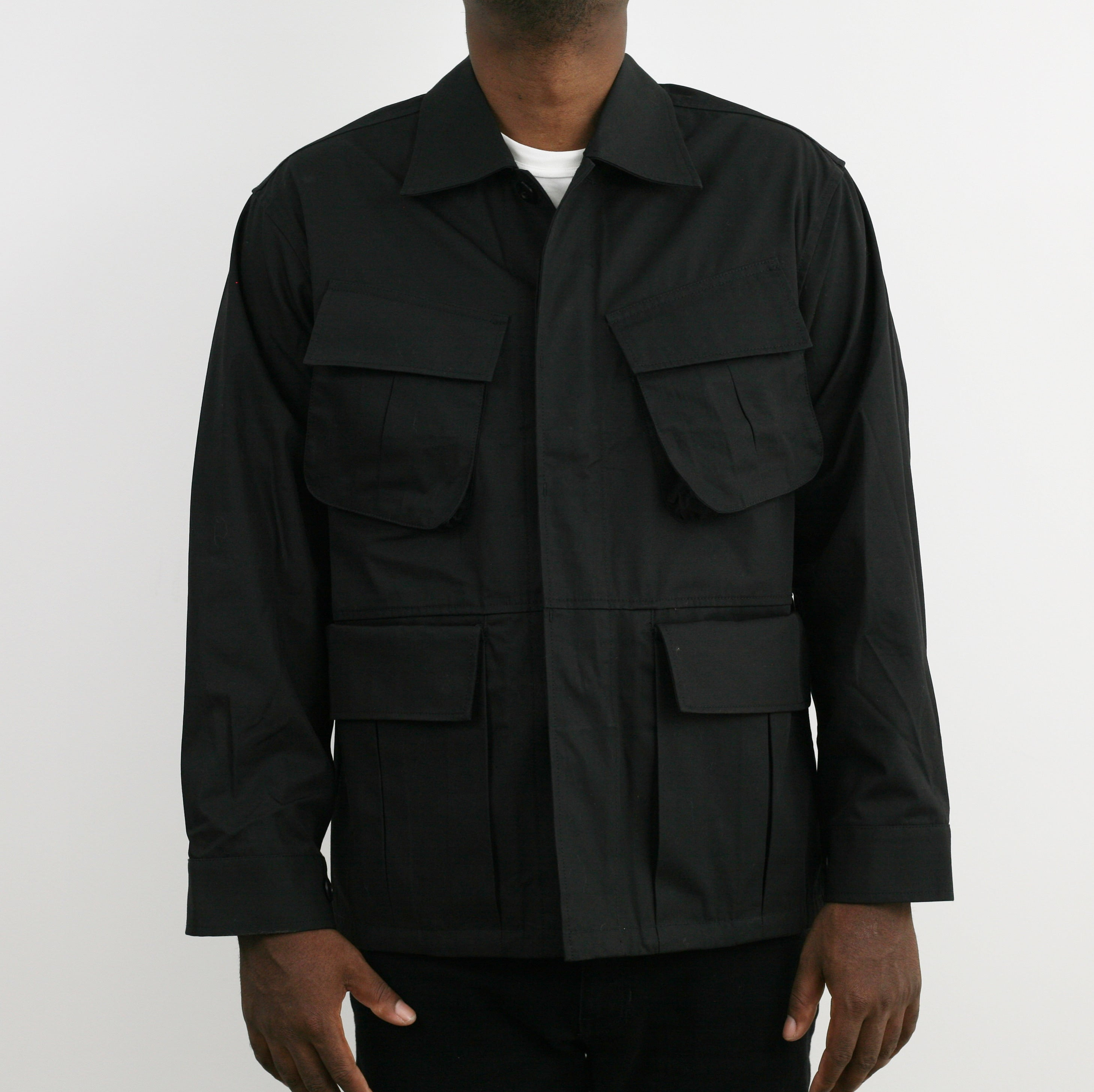 """Over Jacket"" in Black High Density Cotton Drill"