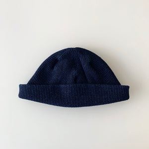 Silk Noel Organic Cotton Waffle Farm Beanie - Short -  Authentic Pure Indigo Dyed