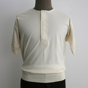 US002 Henley Neck Short Sleeve in Ivory