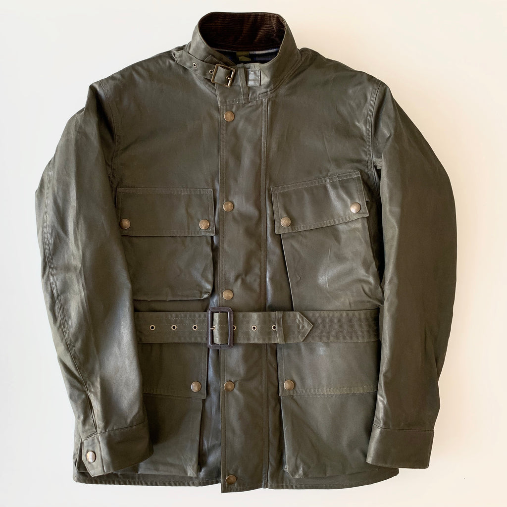 Waxed Cotton BMC 'British Motorcycle Jacket' in Khaki Green with Wool Vest Liner