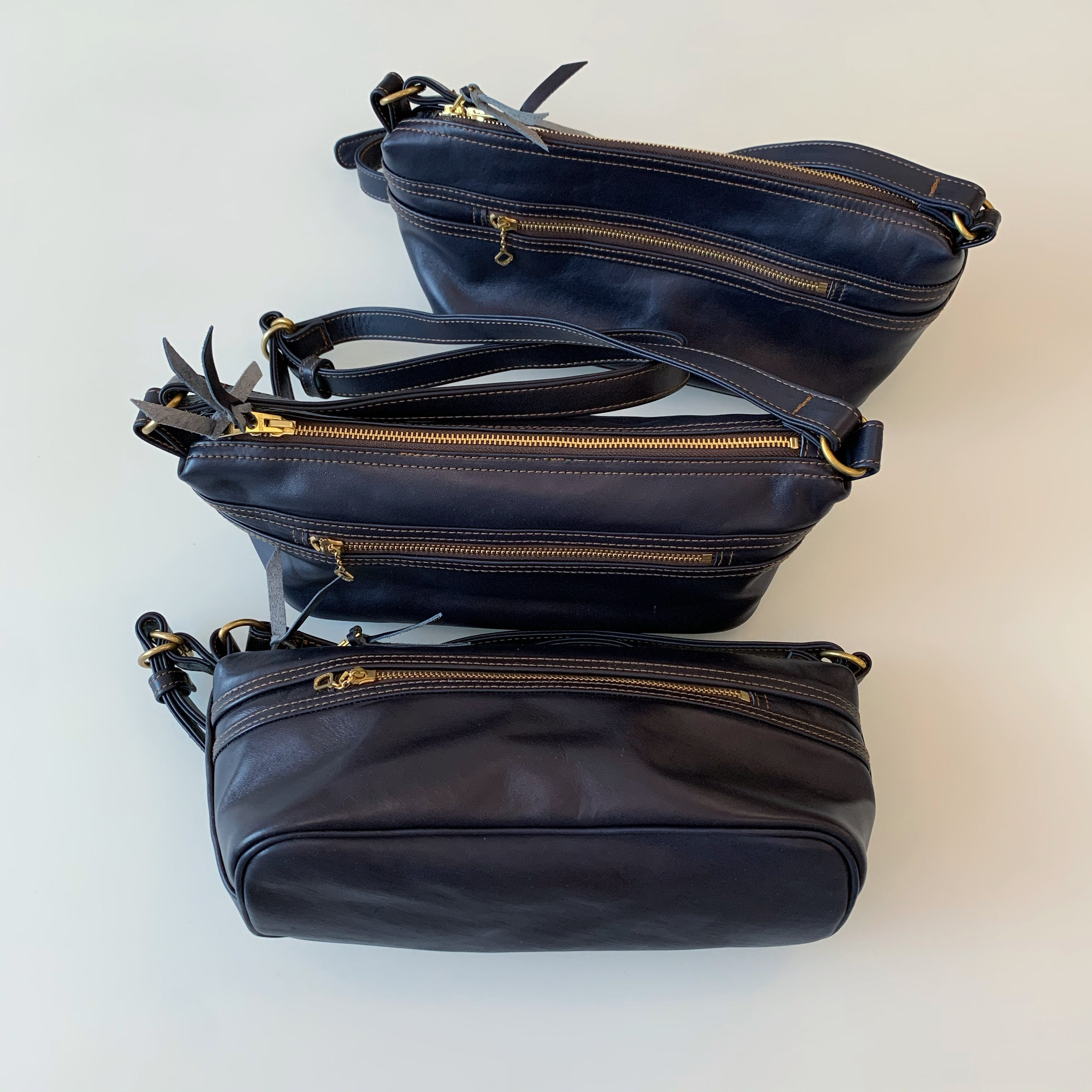 Indigo-Dyed Horsehide Shoulder Bag (BG-02)