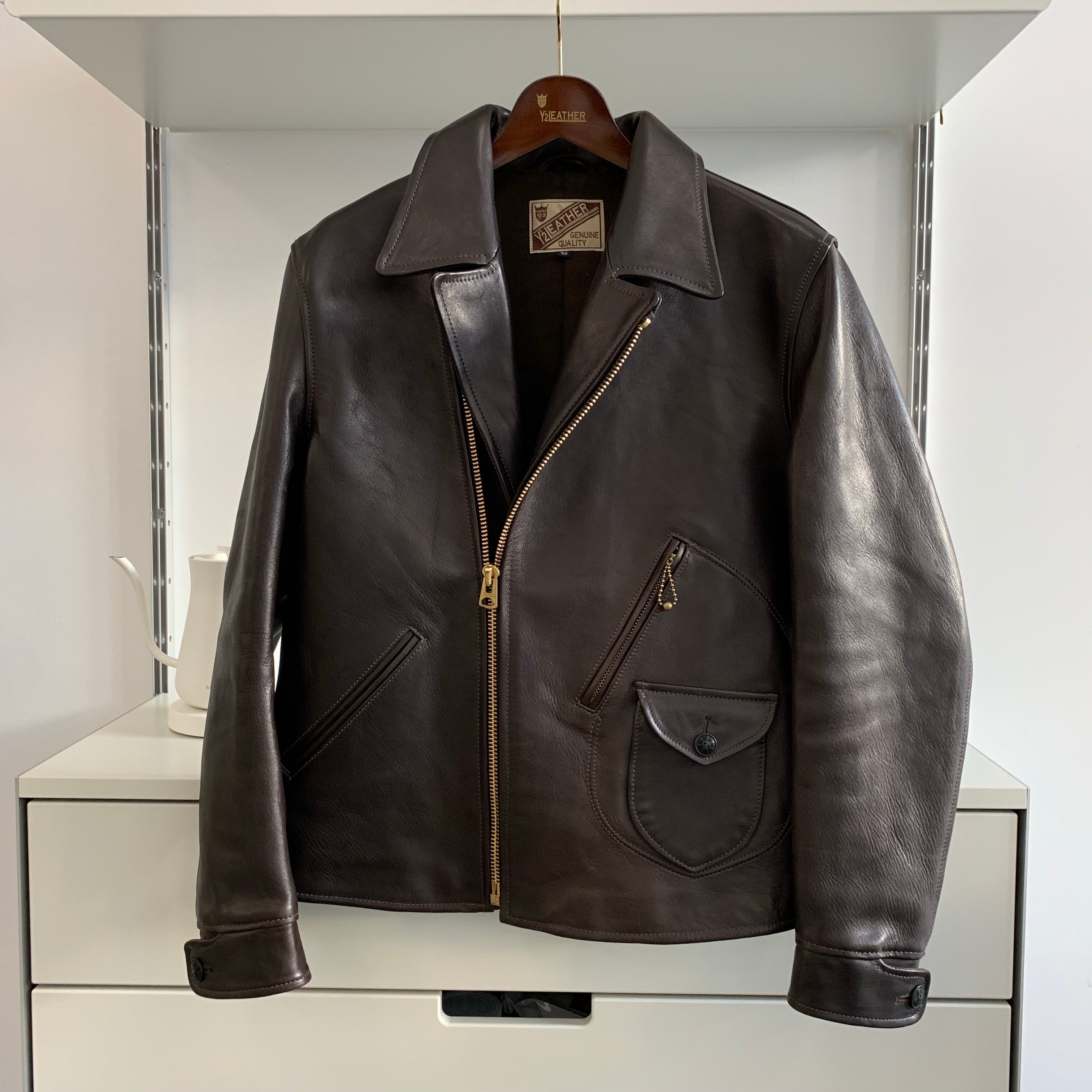 Vegetable Tanned Hand-Dyed Horsehide Double Riders Jacket in Black (HR-56)
