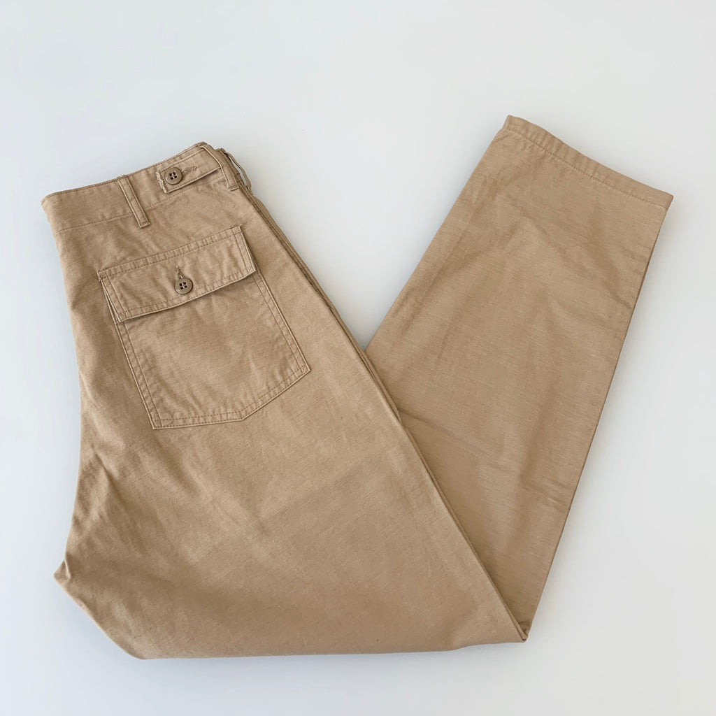 Satin Back 1950's Baker Tapered Pants in Beige