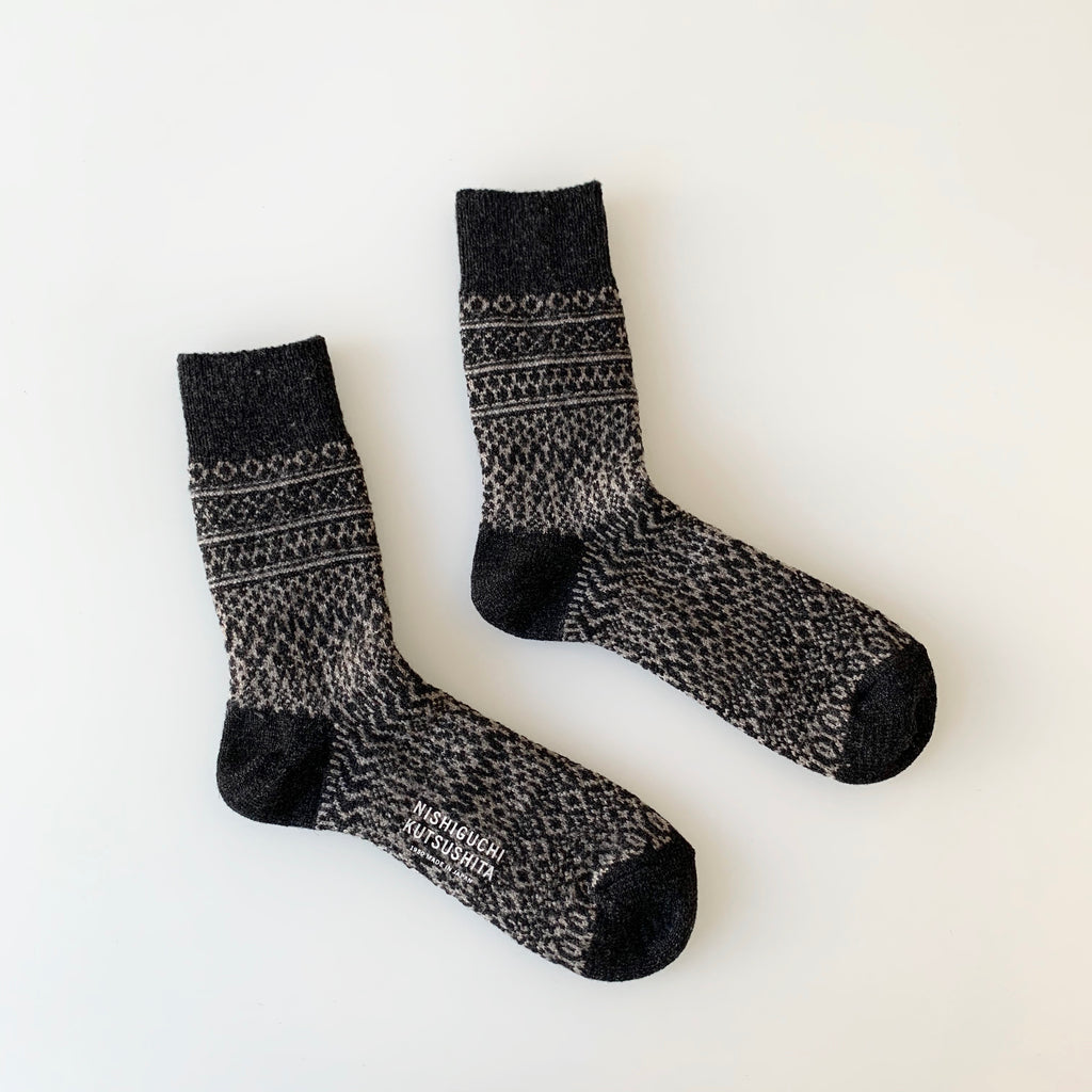 Wool Jacquard Socks in Charcoal