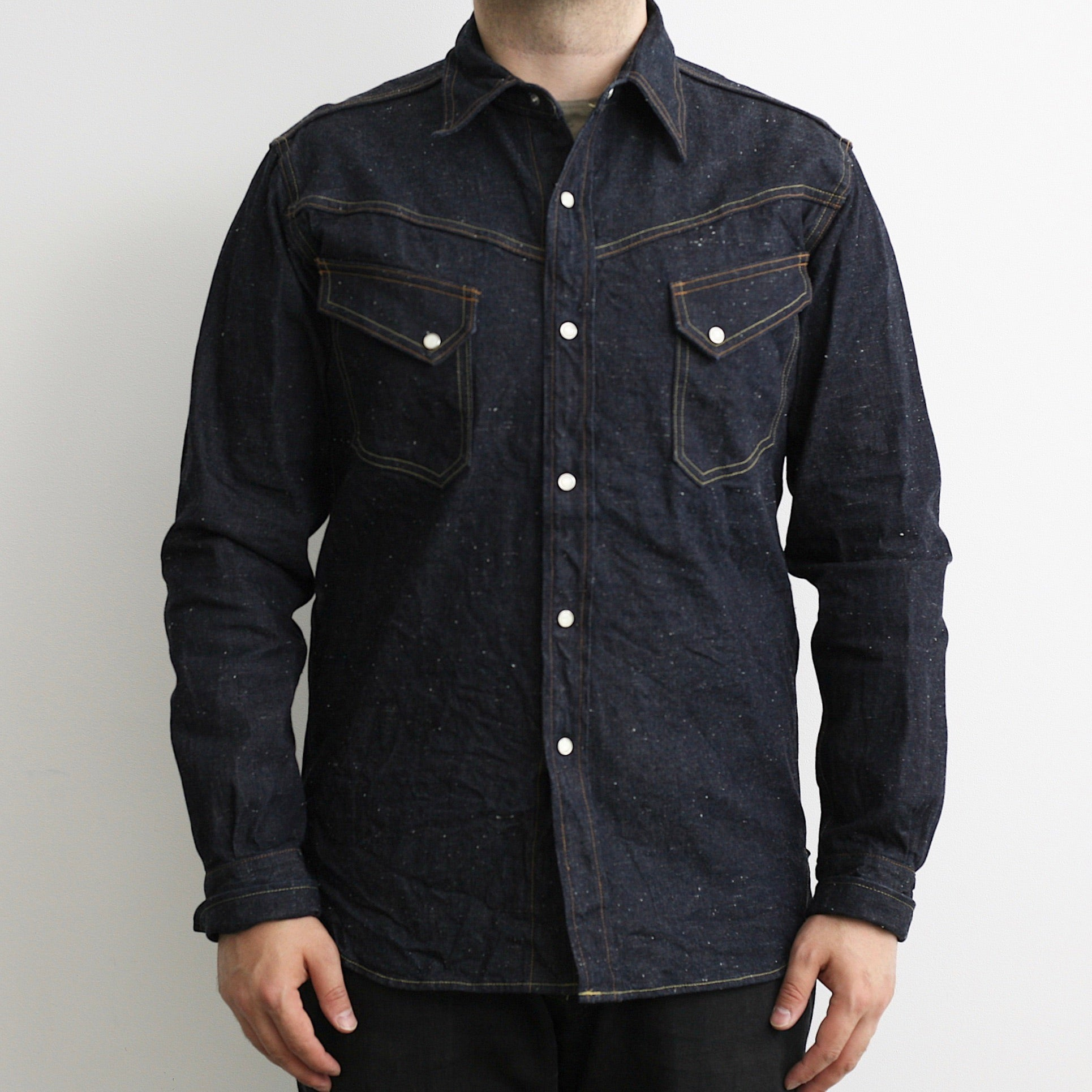 Long Horn Type Western Shirt in 9oz. Indigo Nep Selvedge Denim