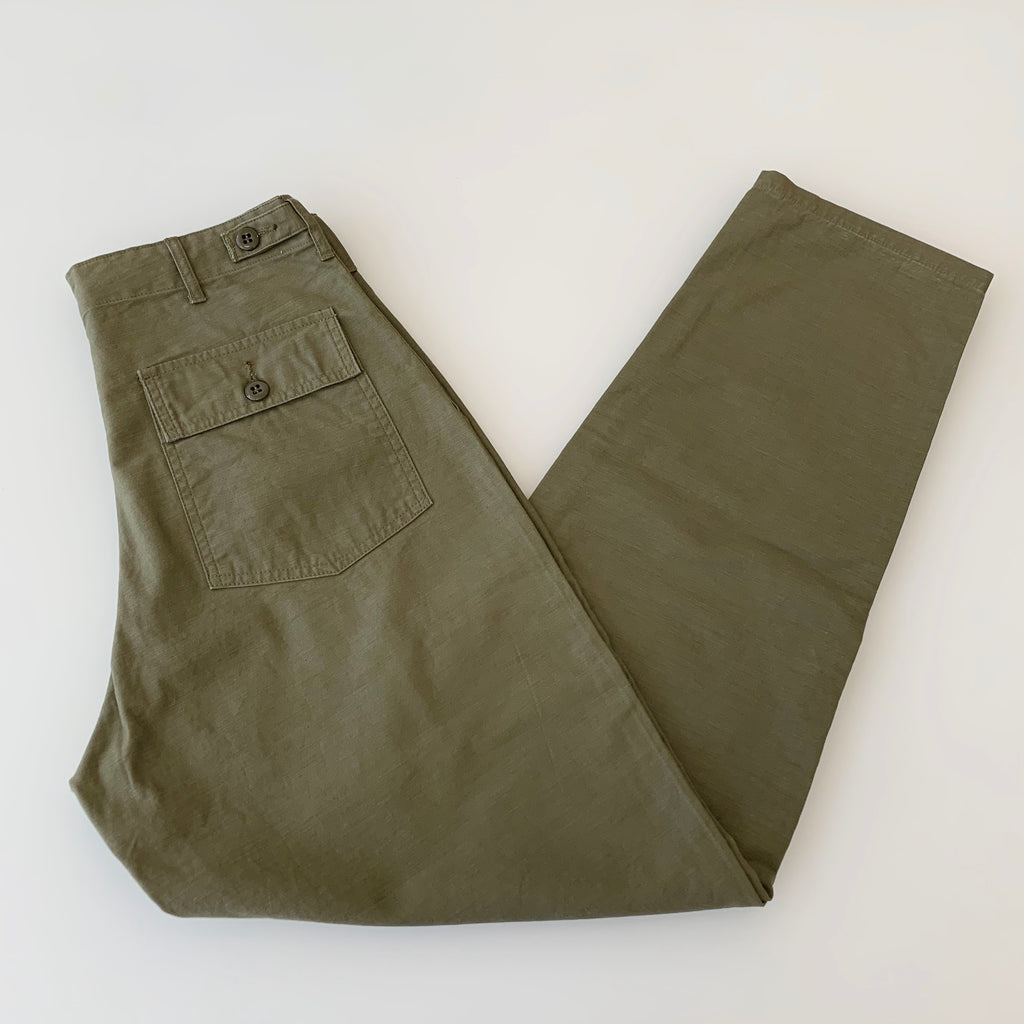 Satin Back 1950's Baker Tapered Pants in Olive Drab