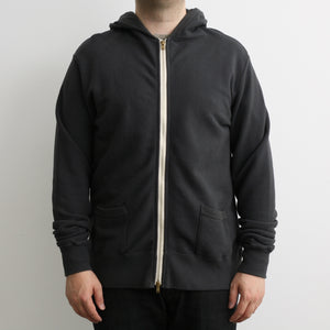 Striped Face French Terry 50's Double Zip Parka in Charcoal