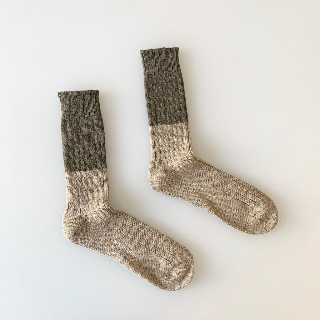 Wool Cotton Slab Socks in Khaki