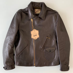 Limited - Vegetable Tanned Hand-Dyed Horsehide D-Pocket Double Riders Jacket in Brown (HR-56)