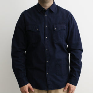 6oz Kuroki Double Indigo Dobby Seersucker Shirt