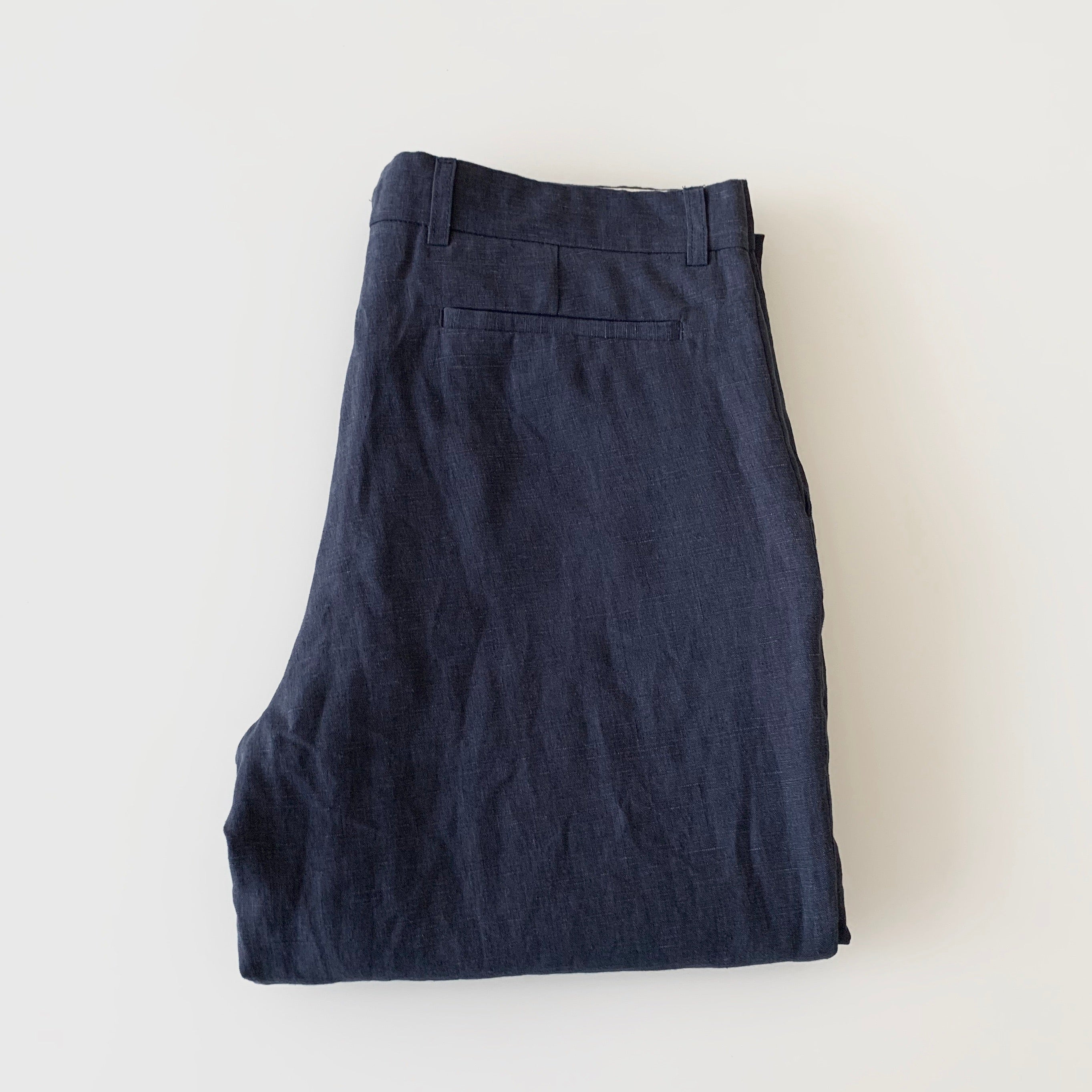 Brushed Belgian Linen Tailored Trousers in Navy