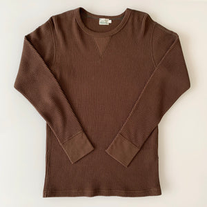 Long Sleeve Waffle Tee in Brown