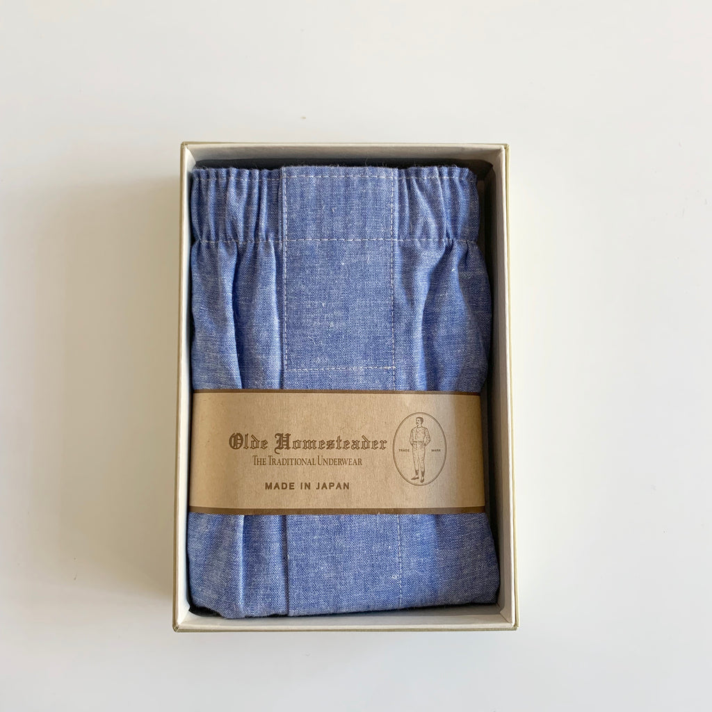 Woven Boxer - Linen Chambray in Blue