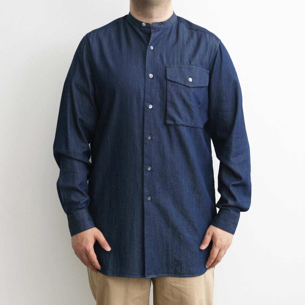 Band Collar Shirt In Indigo Denim