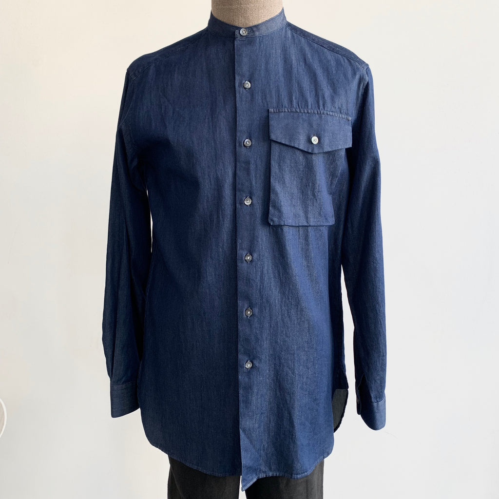 No Collar Long Shirt In Indigo Denim