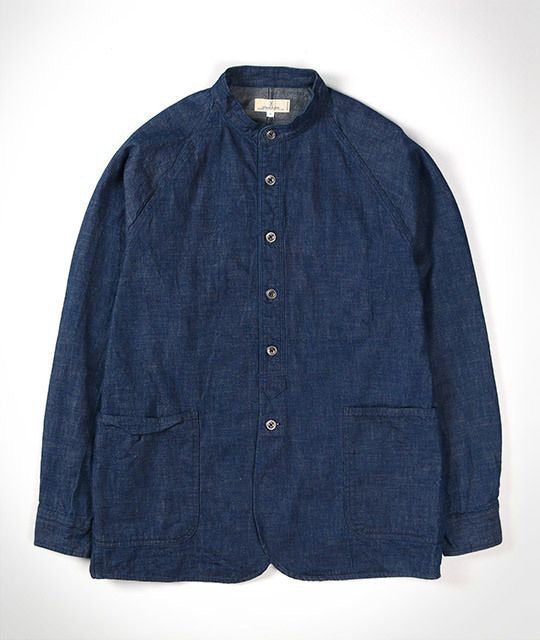 8oz Stand Collar Shirt Jacket in Military Denim