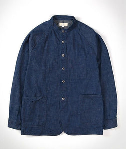 8oz No Collar Shirt Jacket in Military Denim