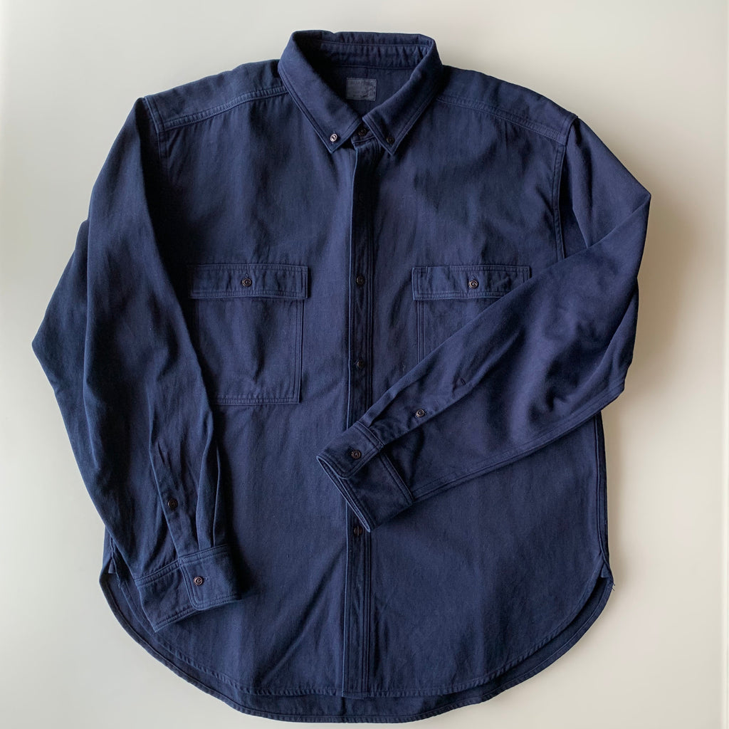 Work Shirt - Dark Indigo - 2x2 Cotton Twill Weave - Sukumo Natural Indigo Hand-Dyed