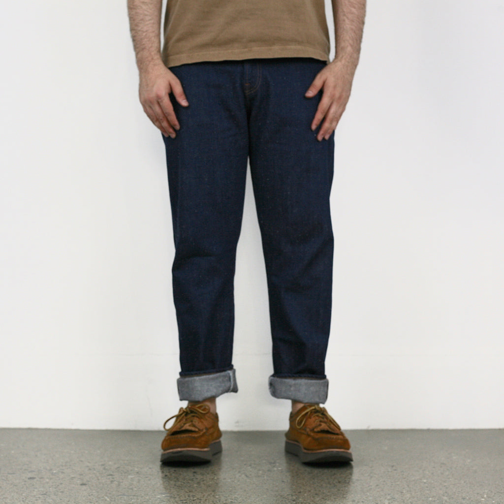 C. T. L 12oz Linen Cotton Bengara Red Selvedge Denim - Washed Indigo (Hi-Rise Slim Straight)
