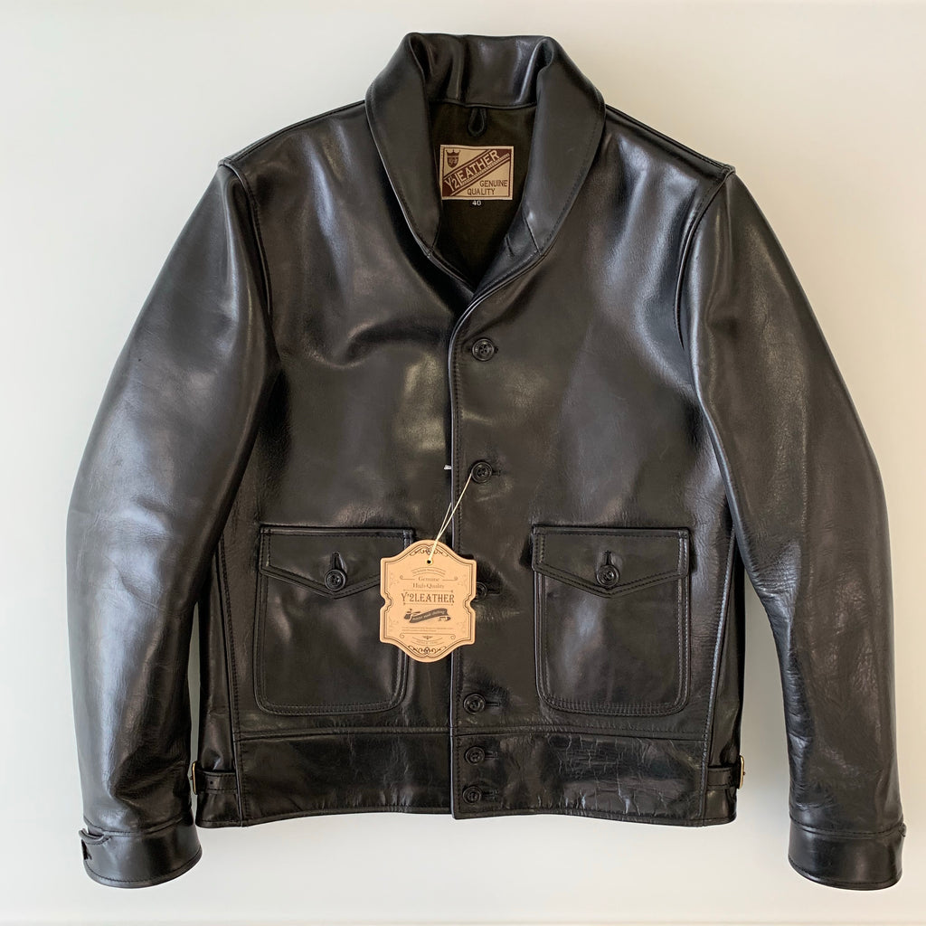 Cossack Shawl Collar Jacket in Black Tea Core Aniline Horsehide (LB-143)