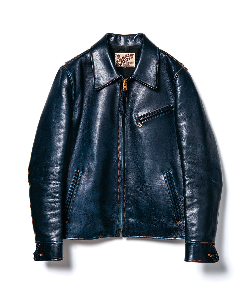 Indigo Dyed Horsehide Single Riders Jacket (IR-42)