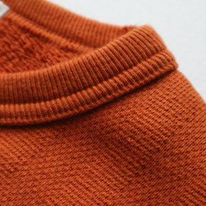 Vintage Jacquard Knit V-Gusset Sweatshirt in Russet Orange