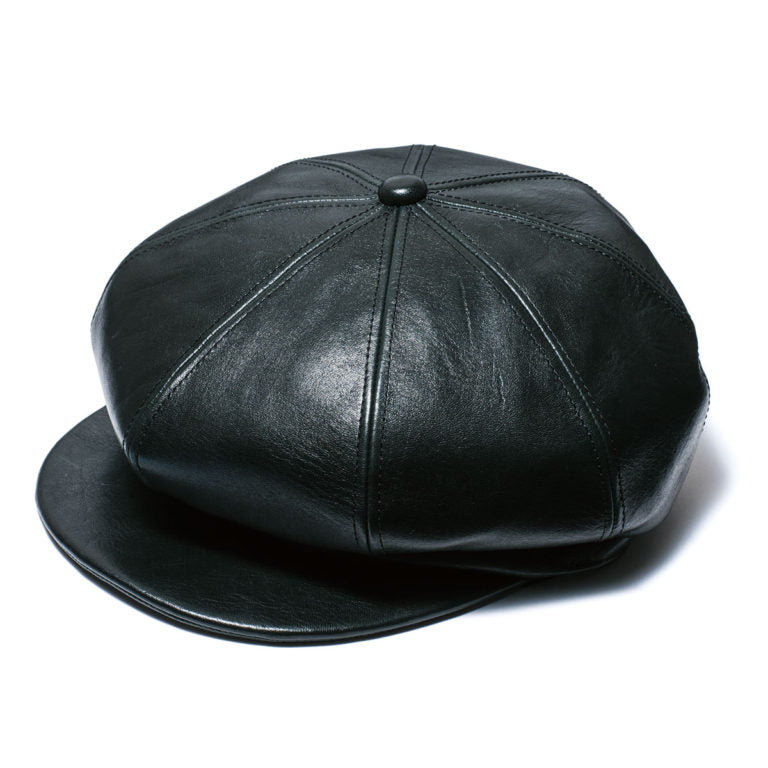 Aniline Horsehide Leather Casquette in Black (LC-04)