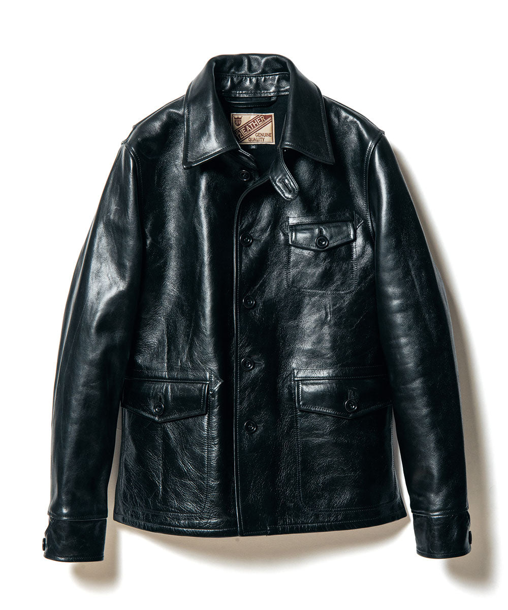 Teacore Aniline Horsehide Work Shirt Jacket in Black (LS-15)