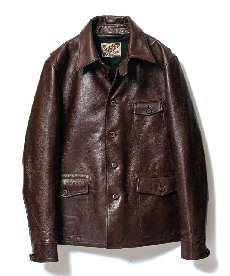 Teacore Aniline Horsehide Work Shirt Jacket in Brown (LS-15)