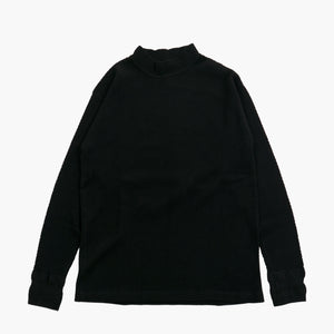 Diamond Mesh Knit Thermal Mock Turtleneck in Royal Black