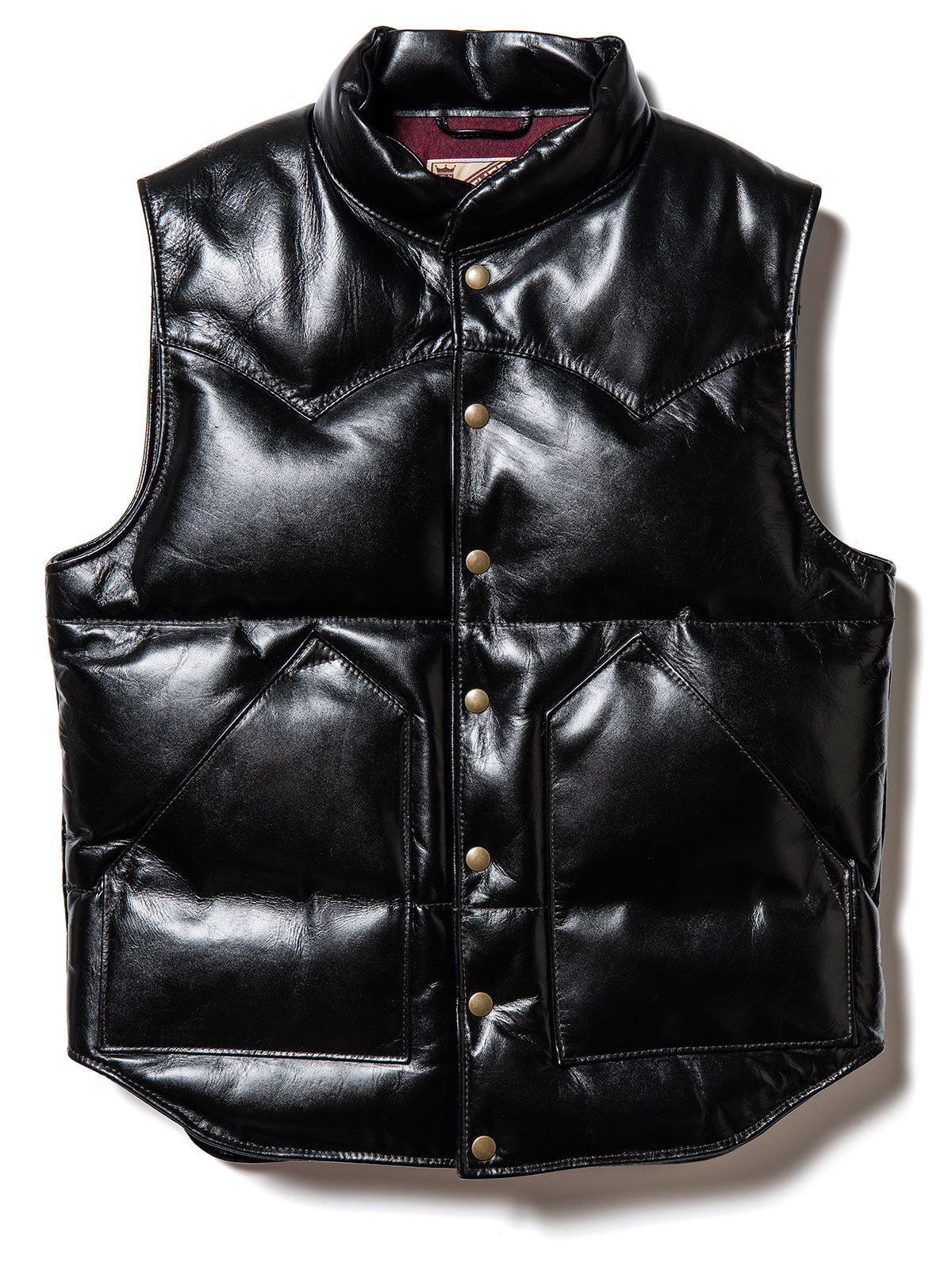 Vintage Pony Tea Core Leather Down Vest in Black (PV-01)