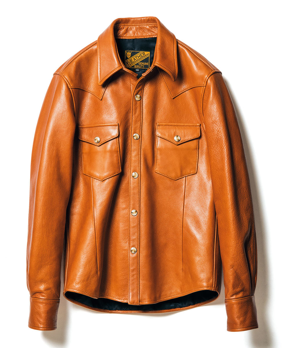 Crafted to Order: Steer Oil Western Shirt in Camel (SS-13)